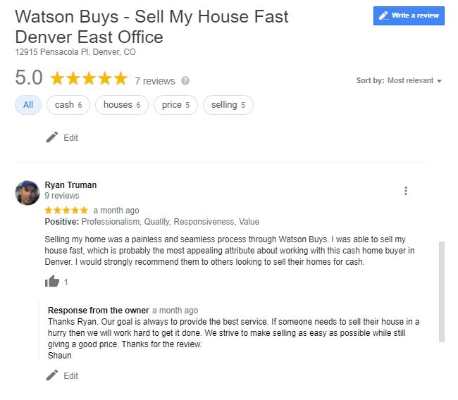 google review on Sell my house fast denver