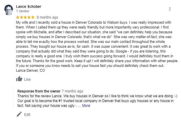 Local Cash Buyer Google Review