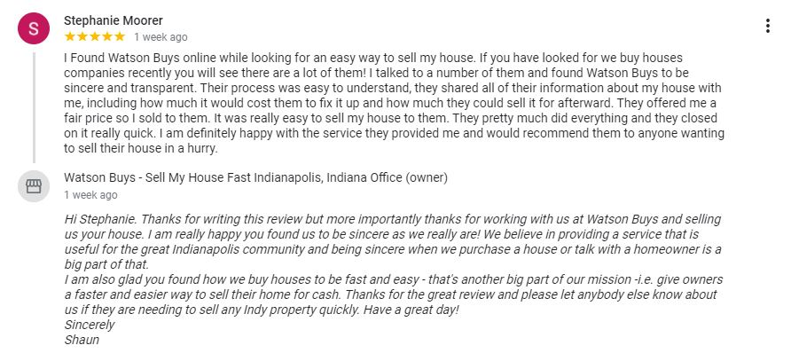 Review Indianapolis Cash home buyer