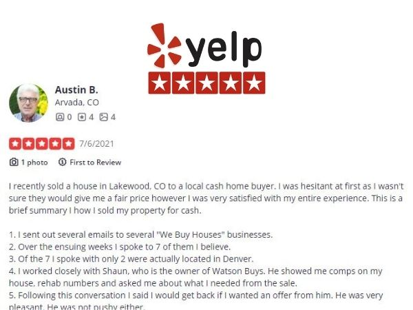 yelp business review - Sell my house fast colorado